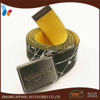 fashion Printed Cotton webbing belt with gun metal buckle for men