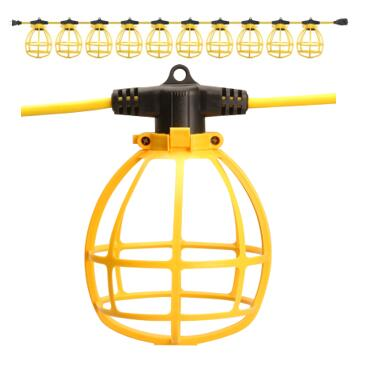 UL Approved Plastic Cage Protection Construction Outdoor Temporary lighting strings