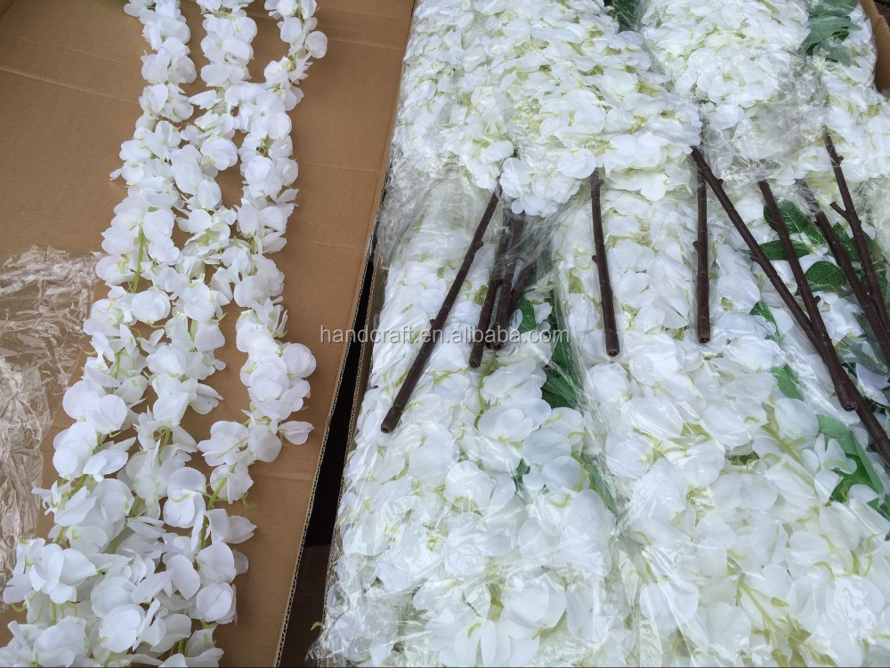 white hanging artificial wisteria flower for wedding decoration supplies