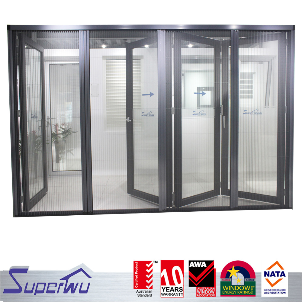 Black color thermal aluminum soundproof folding glass mosquito screen doors prices
