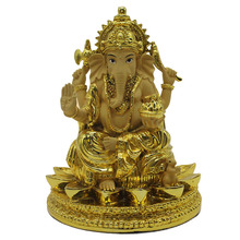 Gold Resin Ganesh Hindu Lord Ganesha Idol Statue