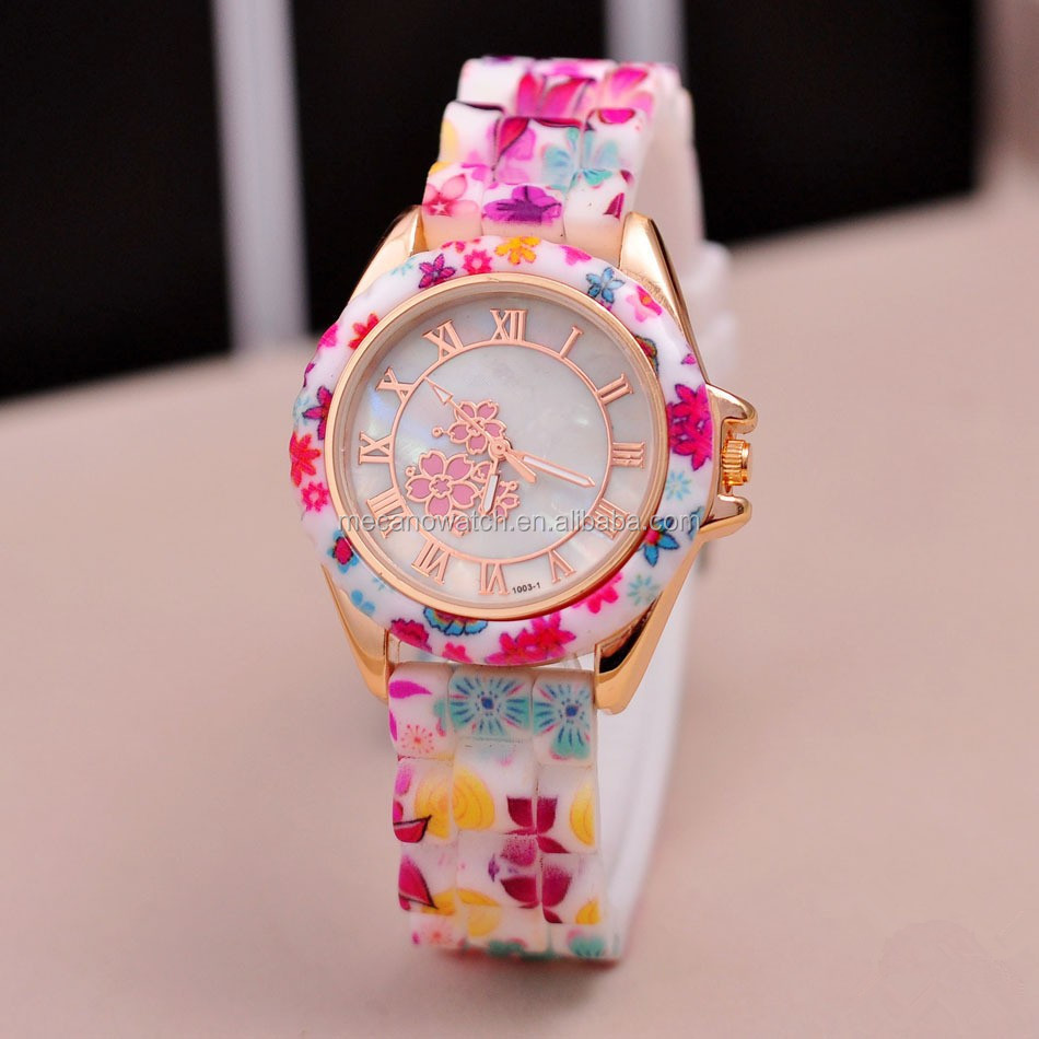 Flower Silicon Strap Watches Ladies Favorites Compare Waterproof Silicone Watches Flower Shaped Watch