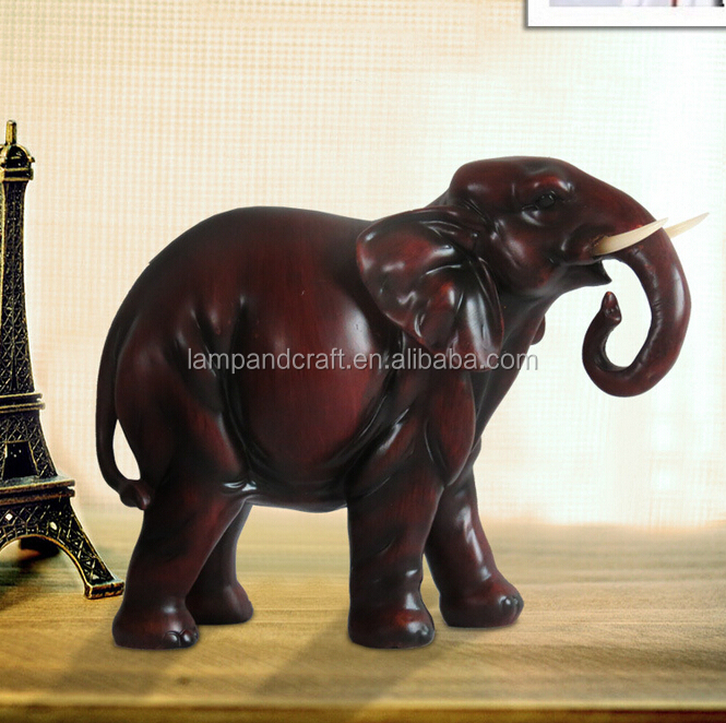 Lucky Indian Elephant Decoration With Red Resin Animal For Home Decor Wholesale Folk Arts And