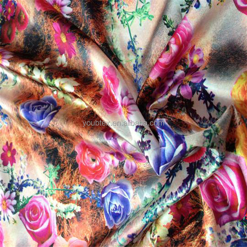 2017 High quality soft spandex floral printed satin fabric