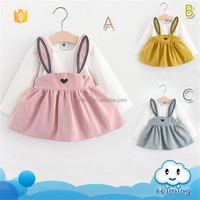 AD-368G Hot Selling Lovely Rabbit 1 Year Baby Girl Dresses Birthday Party Dress
