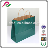 cheap packing brown twist carry handle kraft /craft paper bag customized printing
