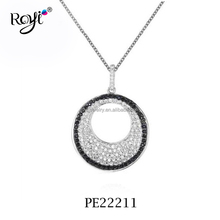Factory For Sale 925 Sterling Silver Jewelry Black and White Topaz open round pendant necklace