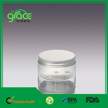 200ml plastic cosmetic bottle jar with aluminum lid, clear PET eye cream pot, skin care packaging container