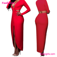 Sample Free Sexy Hot Red Deep V Neck High Split Long Sleeves Guangzhou 2016 Evening Dress