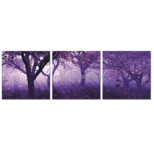 Design Art 'Purple Trees Forest Landscape' 3 Piece Canvas Printing Art