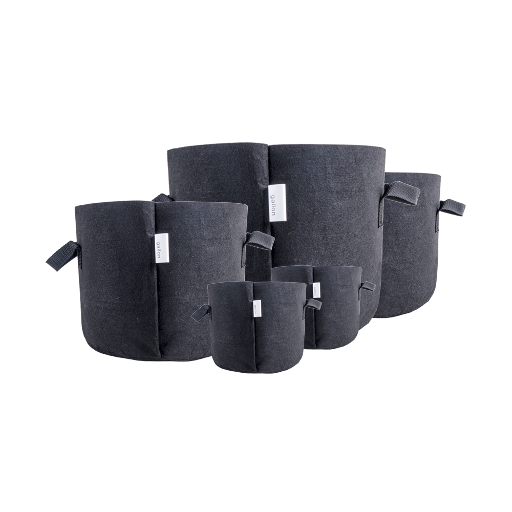 HORTIKING Planter Biodegradable Black Mushroom Potato Aeration Fabric Felt Grow Bags for Plant Pots Container with Handles