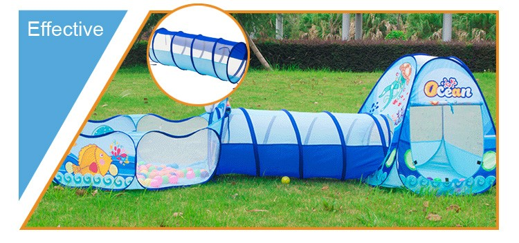 Marine tent kids play tent house with pool tunnel and house
