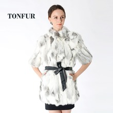 Natural Grey Patchwork Genuine Rabbit Fur Coat For Sale Women