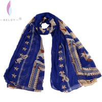 Fashion New Design Voile Zip Print Personalized Scarf