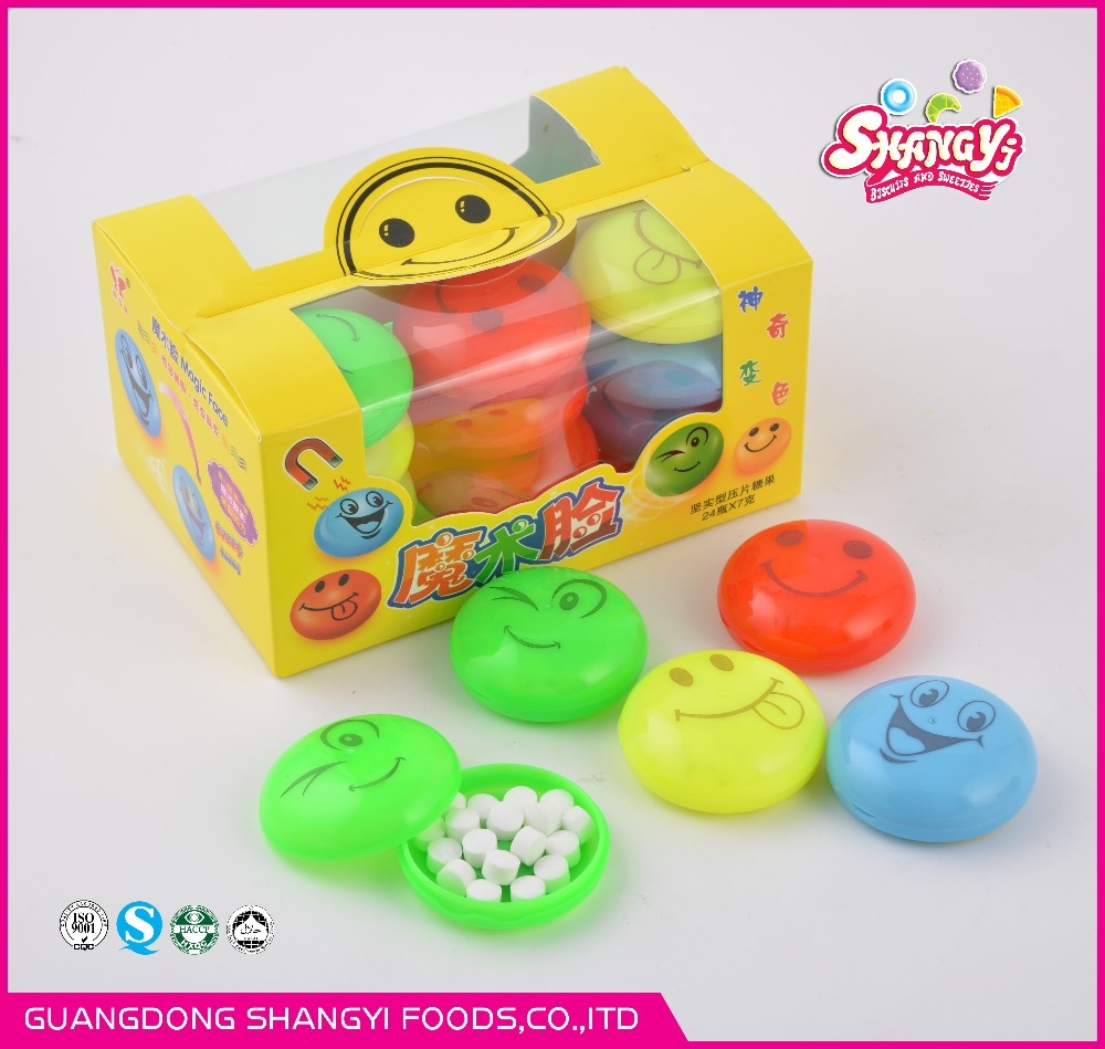 temperature coloration magnetic smilling face candy for upgraded edition