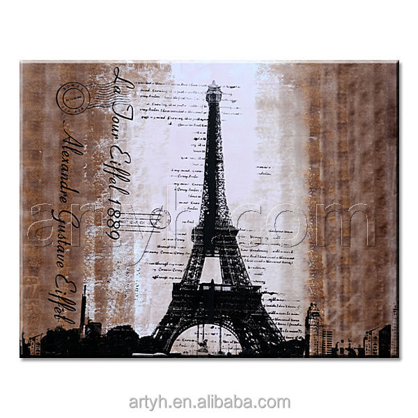 Original handmade oil painting eiffel tower decoration