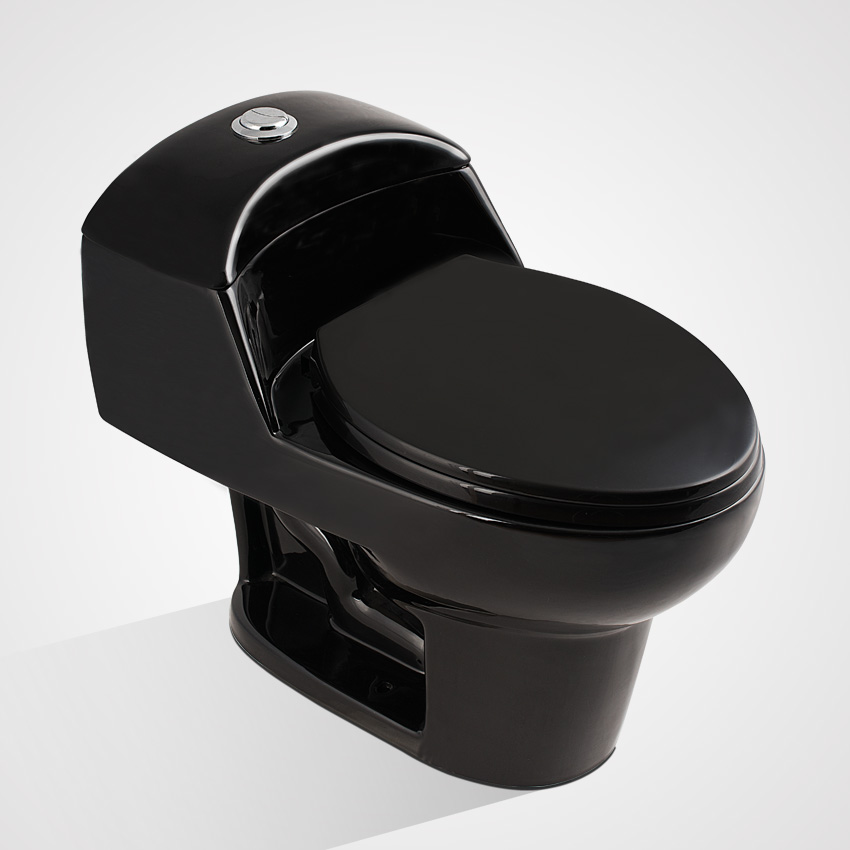 Ceramic Floor Mounted Elongated One Piece Toilet Black Color