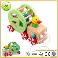 Latest Design Funny Baby Toy String Duck Wooden Model Car