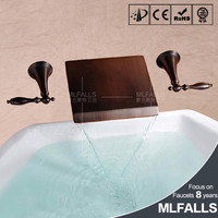 Oil Rubbed Bronze 3Pcs Faucet Set Bathroom Basin Sink Mixer Tap 2 Handles Bathtub Faucet Wall Mounted
