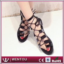 Wholesale Latest Beach Shoes Personalized Leather Lace Up Sandals for Women