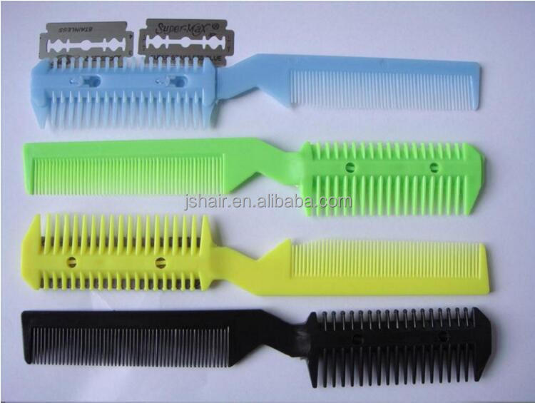 alibaba in China comb with razor blade hair cutting razor comb