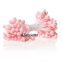 Pink Artificial Pearlized Flower Stamen For Cards Cakes Decoration 6.0cm