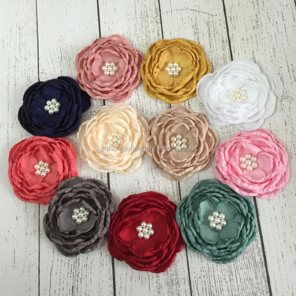 "In Stock 11 Color Wholesale Decoration Hair Wedding <strong>Flowers</strong> 4"" Burned Satin Layered <strong>Flowers</strong> Bridal Hair <strong>Flower</strong> Baby dress"