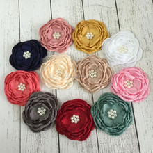 "In Stock 11 Color Wholesale Decoration Hair Wedding Flowers 4"" Burned Satin Layered Flowers"