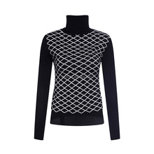 JACQUARD HIGH NECK WAFFLE PATTERN LADIES PULLOVER FASHION SWEATER