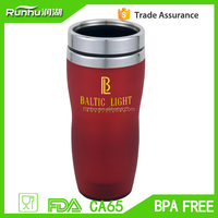Solid color outer plastic coffee travel mug with paper photo insert RHSP304-16