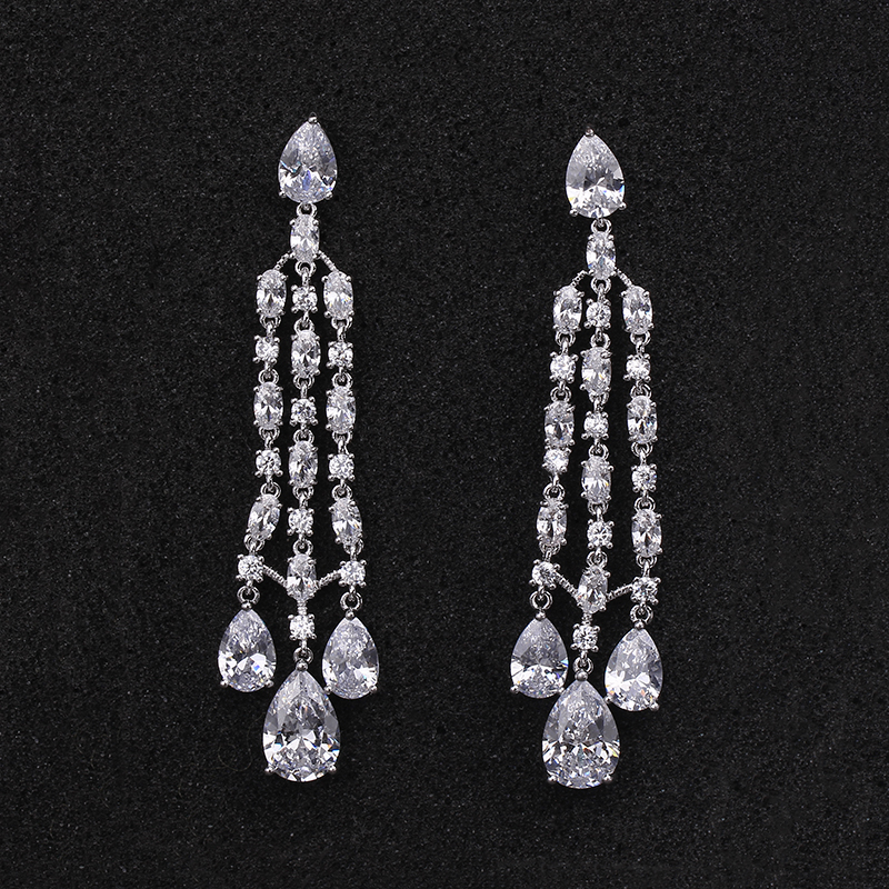 Platinum Plated Sparkling 7cm Long AAA Cubic Zirconia CZ Tassel Earrings For Women