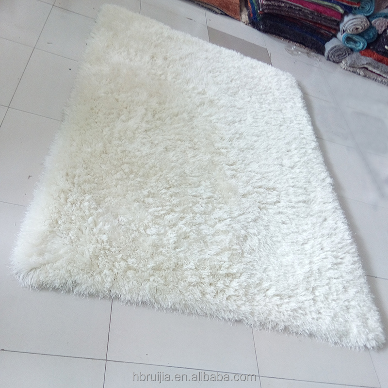 White Luxury Wholesale Plush Fire Resistant Carpet with Shaggy Carpet Designs