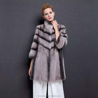 Light purple full skin cut stand collar real mink fur coat for ladies