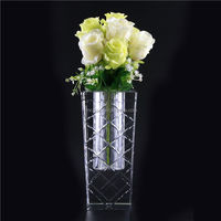 MAIN PRODUCT excellent quality square crystal glass vase from China