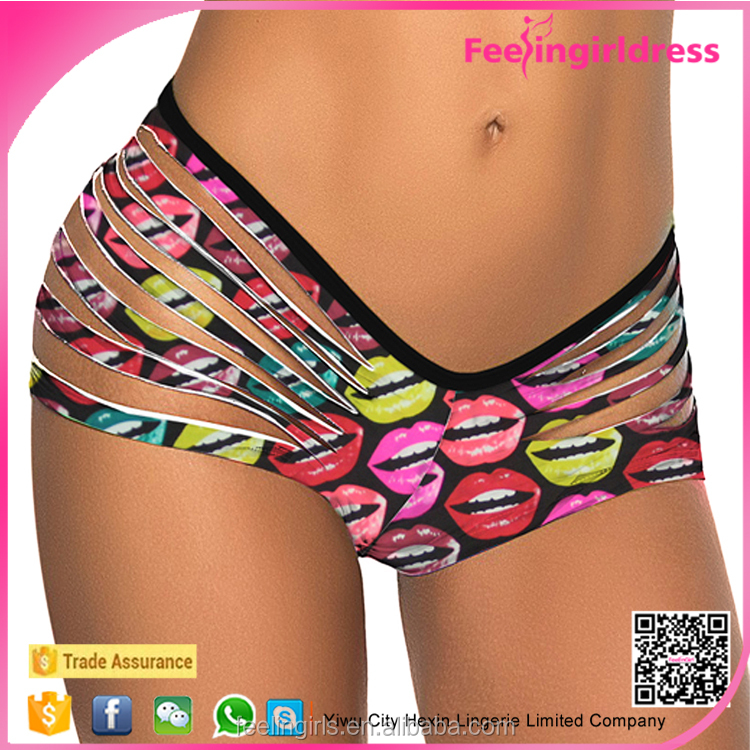 Made In China Factory Price Colorful Lips Pattern Sexy Teen G String