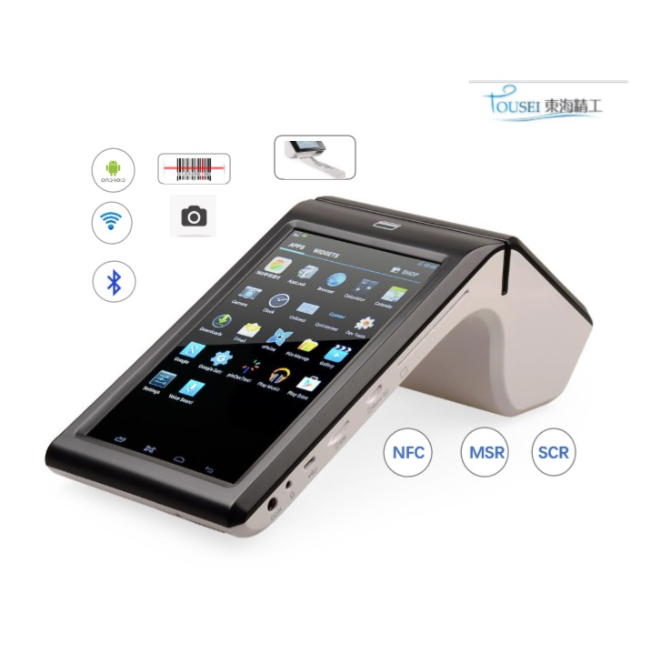 Mobile Android payment pos terminal with Bluetooth WIFI 3G bill thermal printer for retails and restaurant TS-7002