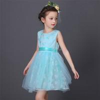 new design wholesale light blue dress long with lace