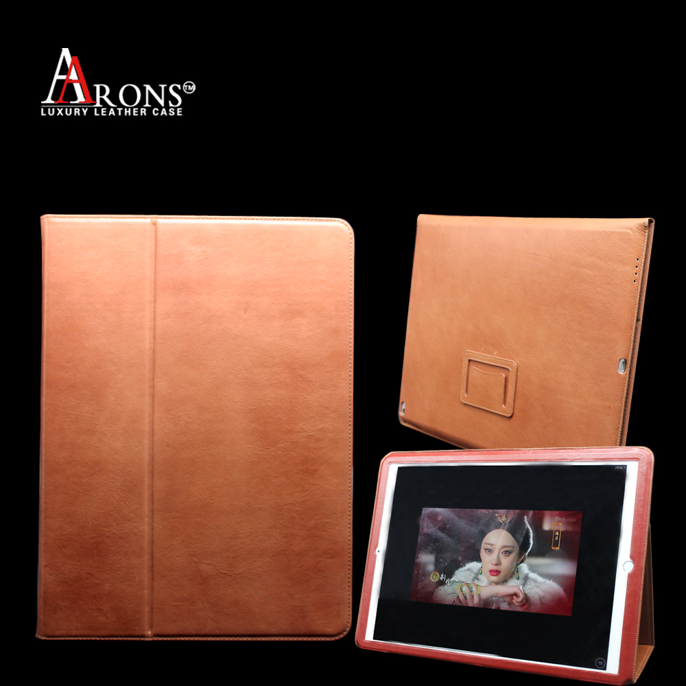 Aaron brand products genuine cowhide leather book case table case for ipad