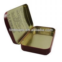 rectangular small metal hinged lid tin box