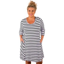India sexey girls Blue White Stripes Relaxed Curvy malaysia traditional Dress