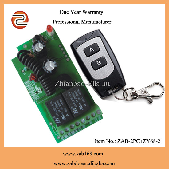 ZAB-2PC+ZY68-2E,Learning code DC12V,2CH wireless electronic lock remote control,80M waterproof black remote
