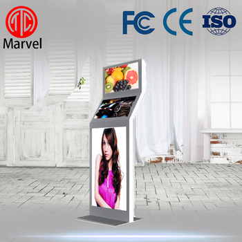 Indoor 1080p floor stand lcd display advertising video screen with three screen