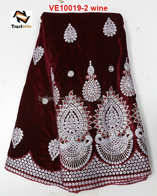 Cheap price embroidery designs with sequins and beads embroidered velvet fabric VE10019 wine