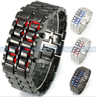 Red &blue LED paidu stainless steel watch