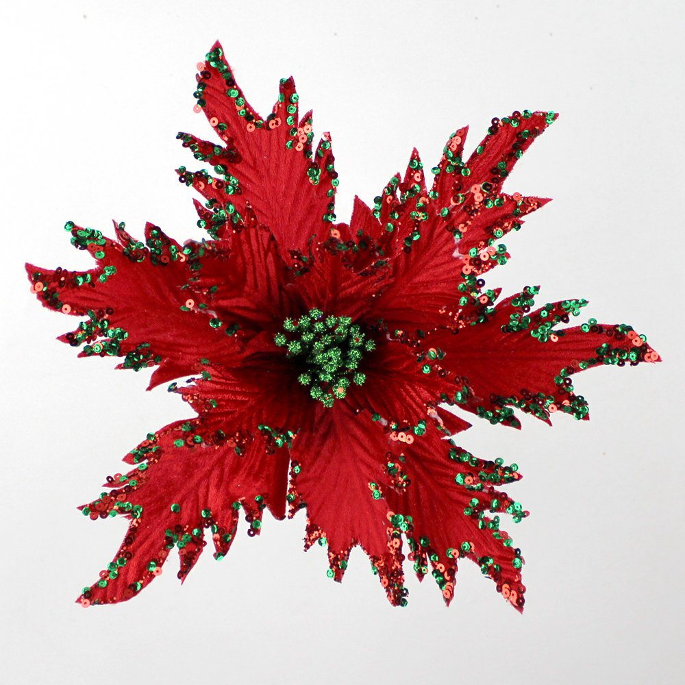 Christmas Poinsettia <strong>Flowers</strong> Picks with Glitter for Christmas Tree &amp; Wreath Decoration wholesale #7B003