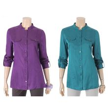Korea Fashion Women Clothing Chinese Collar Shirts Blouse Top