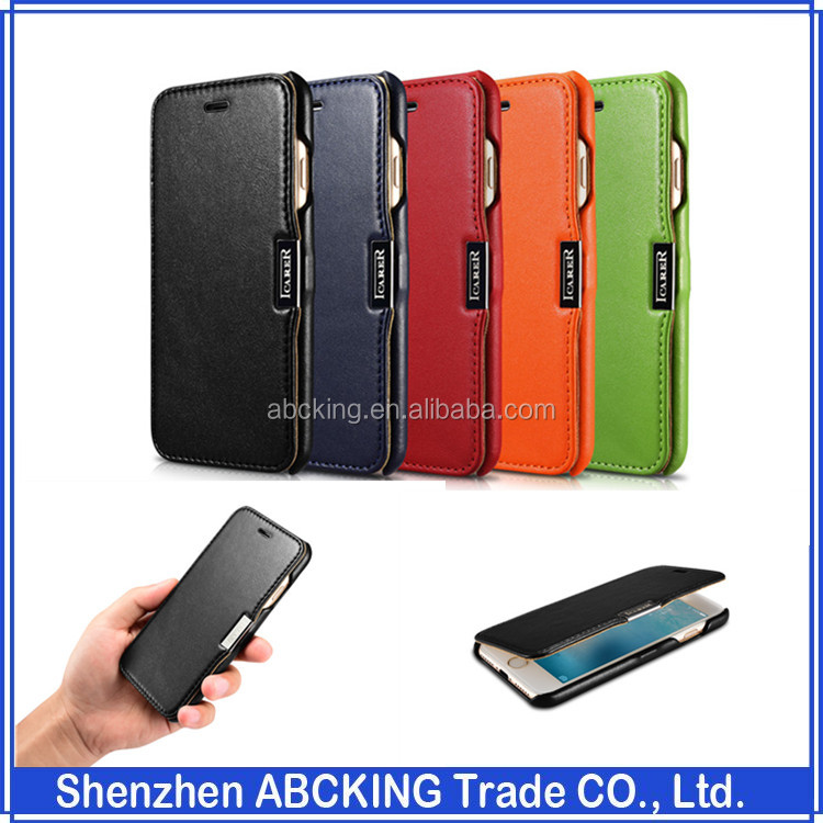 iCarer Side-open Genuine Leather <strong>Case</strong> For iPhone 7 7 Plus iPhone 6 6S Plus Cover with Packing