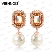 Earrings Rose Gold Imitation Jewelry Fashion Design,Wedding Pearl Earring For Women