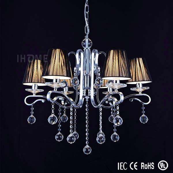 Zhongshan Factory Wholesale Iron Fixture Chrome Silver Crystal Chandelier Lighting