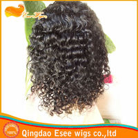"Factory wholesale 100% human hair Indian remy hair deep curly lace front wig 1# color 120%density 10""-24"" in stock"